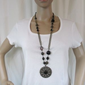Statement Necklace Filigree Black Beads Medallion